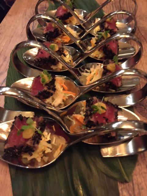 Black sesame seared yellow fin tuna with coriander and miso.