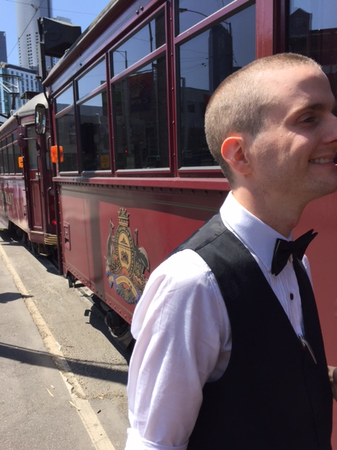 Smiling face of Tim the tramcar steward