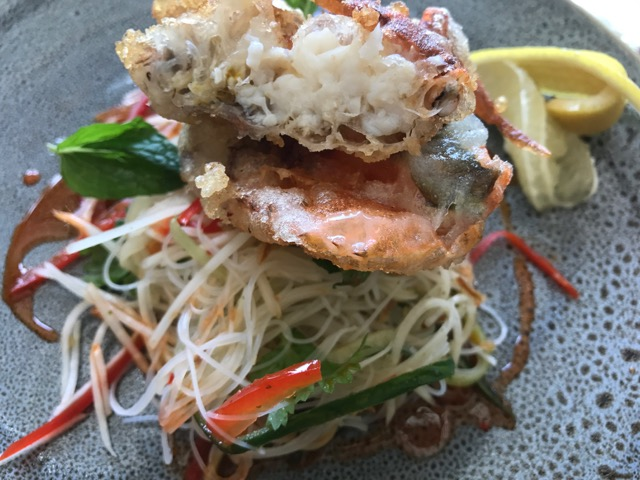 Soft shell crab with noodles