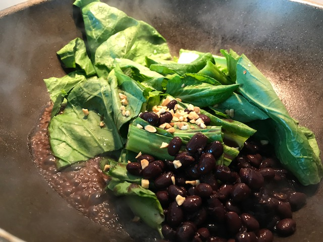 Choy sum with black beans & chopped peanuts
