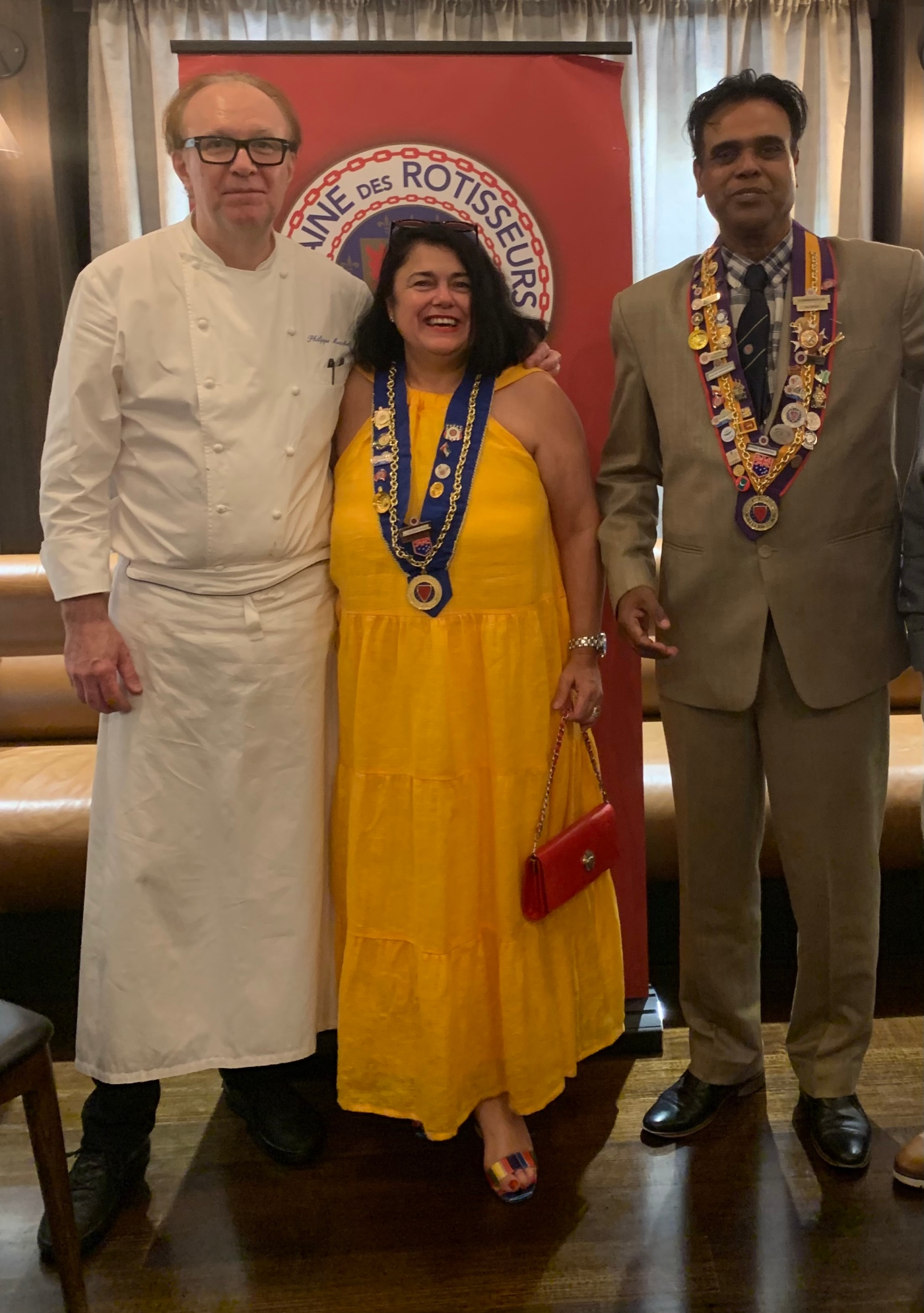 L to R, Philippe Mouchel - Executive Chef & Owner , Petra Harmer-Shrowder - National Chargee de Presse La Chaine des Rotisseurs, Daman Shrivistav, Vice Conceille de Gatronomique - La Chaine des Rotisseurs